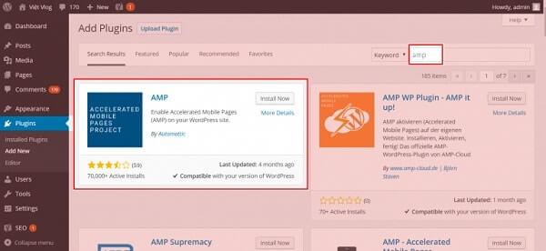 Cài đặt AMP cho website Wordpress