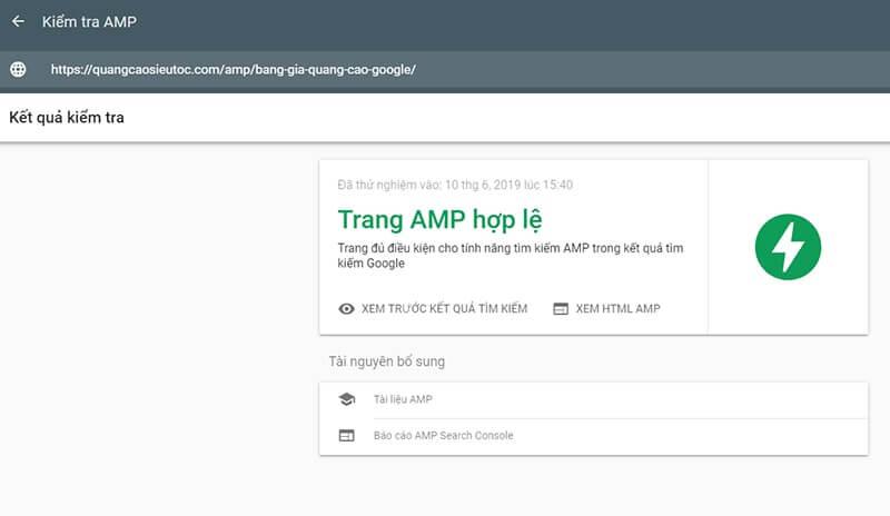 Google thông báo trang AMP hợp lệ