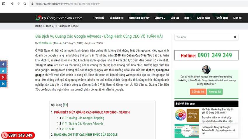 Trang Web thông thường được hiển thị với nhiều banner quảng cáo