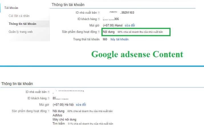 Tài khoản Google Adsense Content
