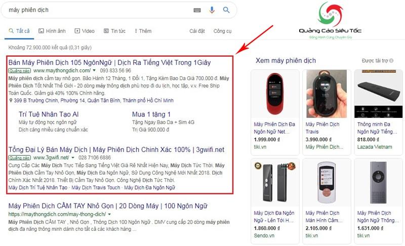 Các hình thức quảng cáo google adwords