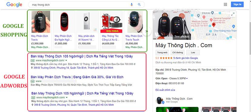 Google shopping xuất hiện trên máy tính