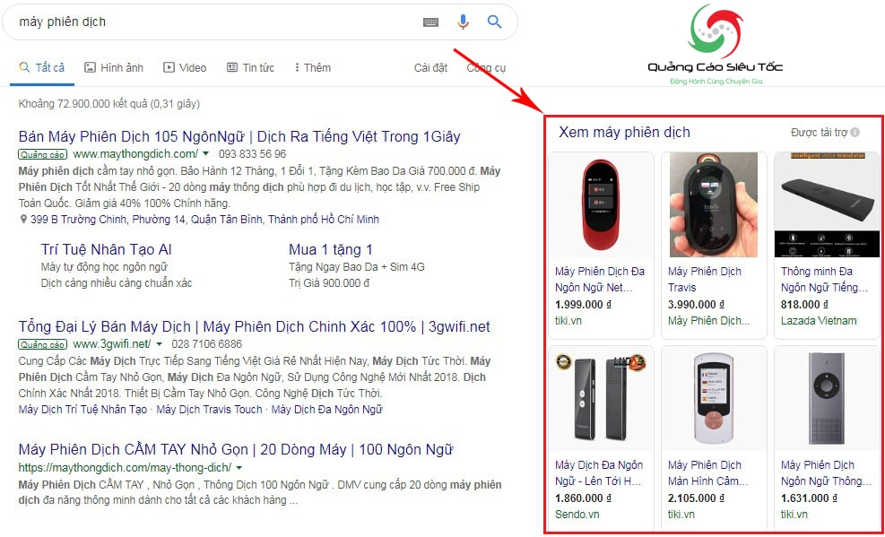 hình thức quảng cáo google