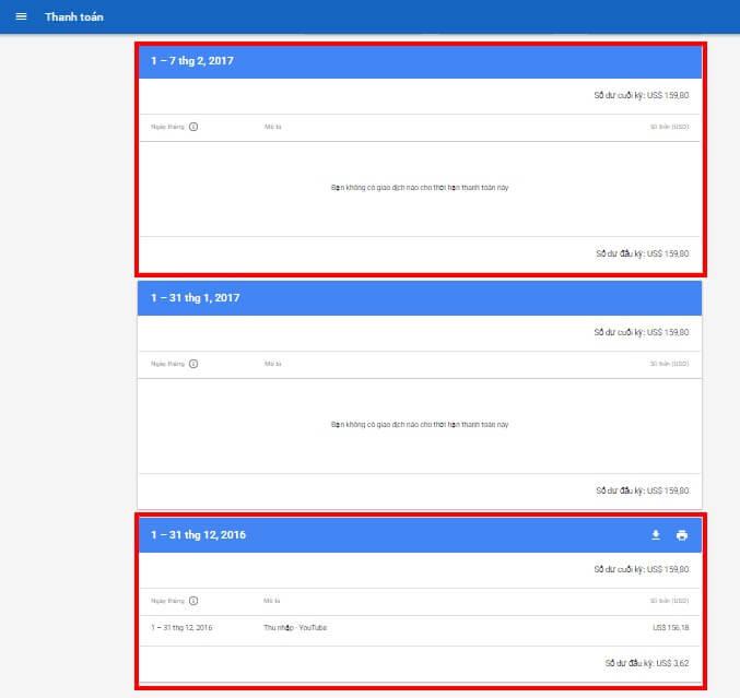 Tài khoản Adsense không cập nhật được tiền