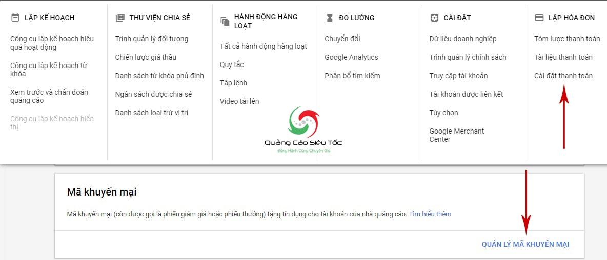 Mua mã khuyến mãi google adwords