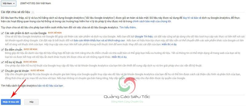 nhúng google analytics vào website