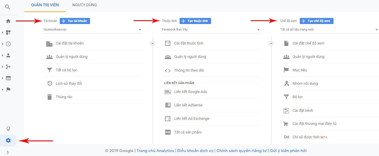quản trị tài khoản google analytics