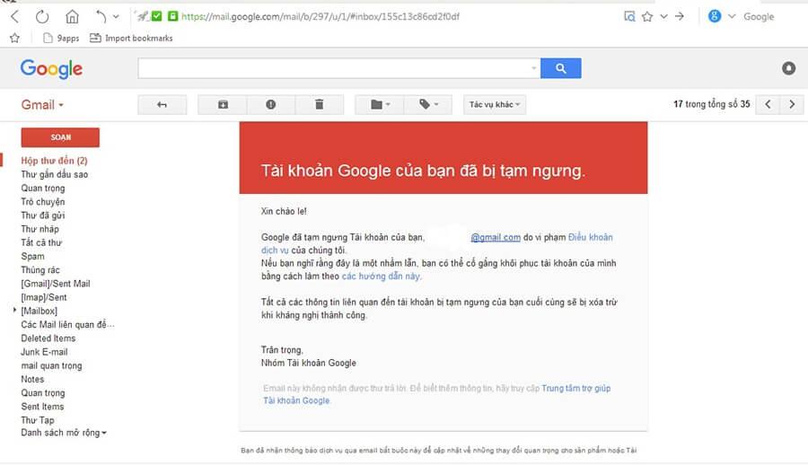 Mail thông báo tài khoản Google bị tạm ngưng