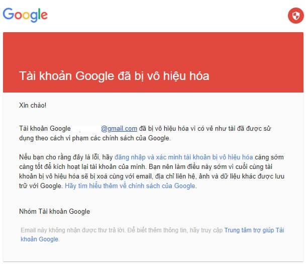 Tài khoản Google bị vô hiệu hóa vì vi phạm chính sách sản phẩm