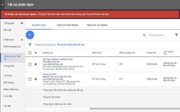 Tài khoản Google bị tạm ngưng vì vi phạm thanh toán