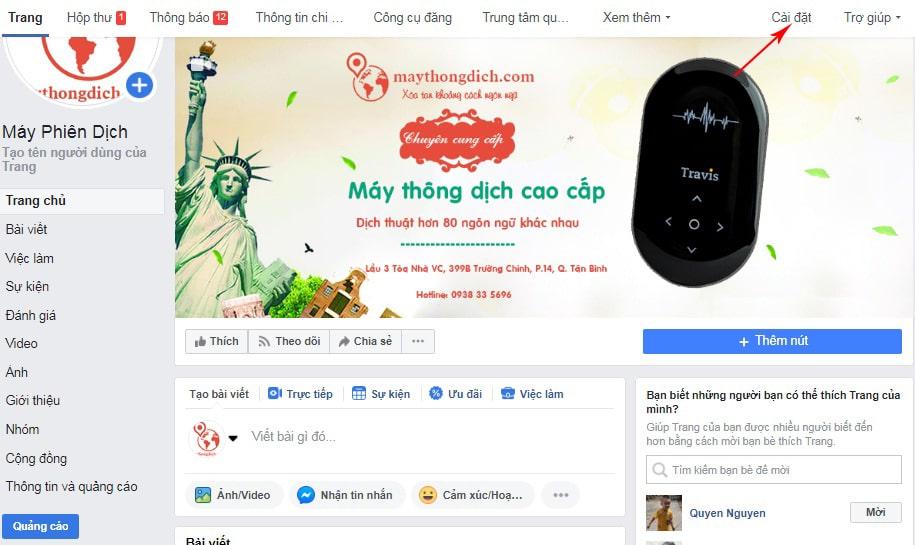 Truy cập mục Cài Đặt để tạo cửa hàng trên Facebook