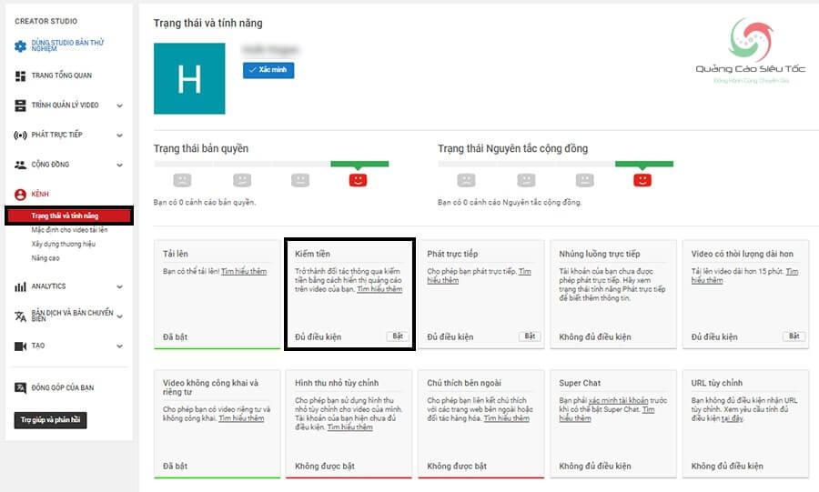 Bật tính năng kiếm tiền cho kênh Youtube