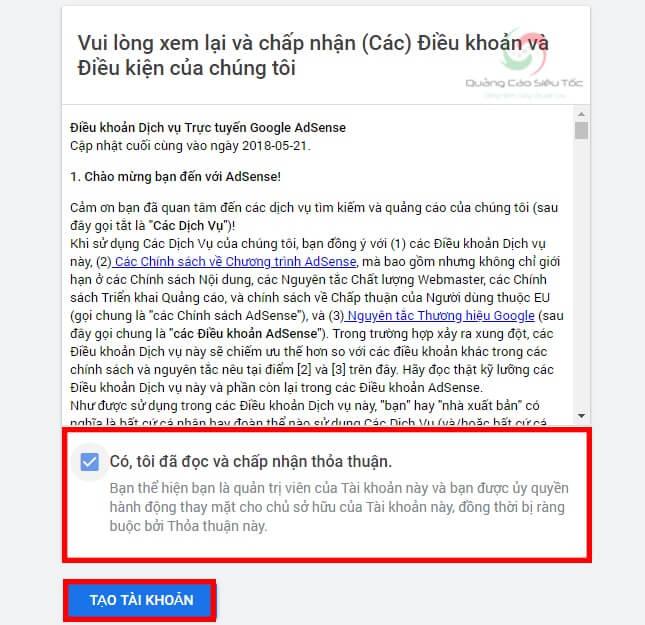 Đọc điều khoản và xác nhận tạo tài khoản Google Adsense