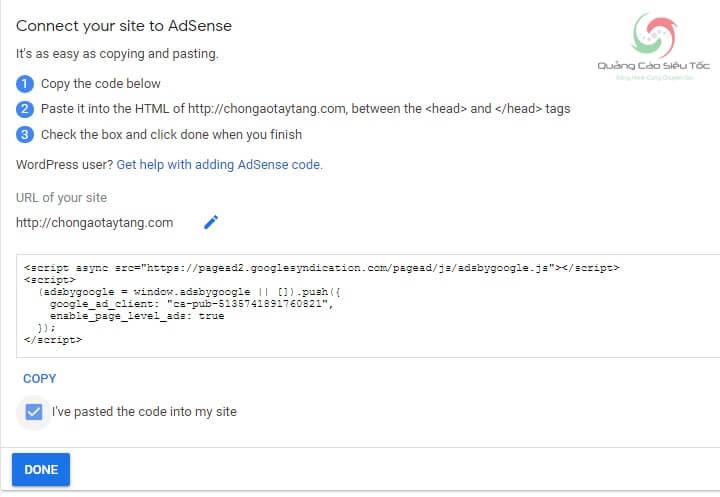 Chèn đoạn code xác nhận chủ sở hữu vào Website theo hướng dẫn của Google