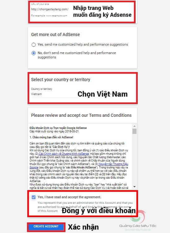 Đăng ký website muốn tham gia kiếm tiền bằng Google Adsense