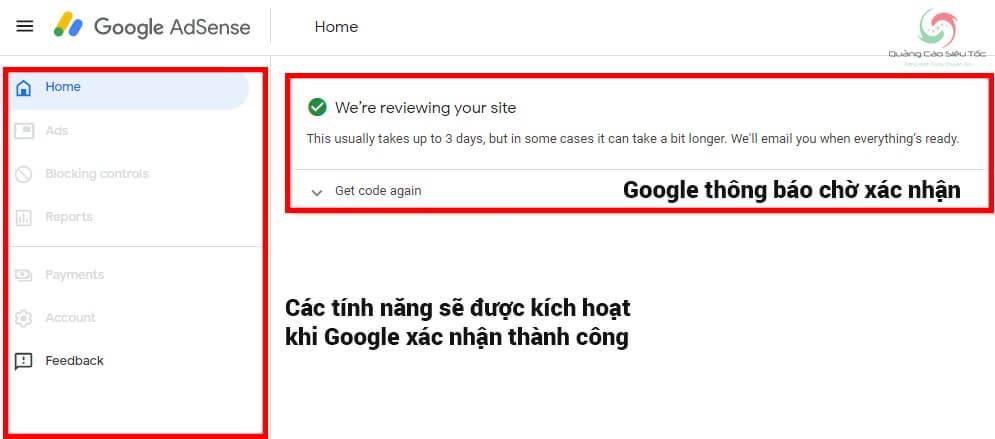 Google mất khoảng 3 ngày để xét duyệt tài khoản Google Adsense mới tạo