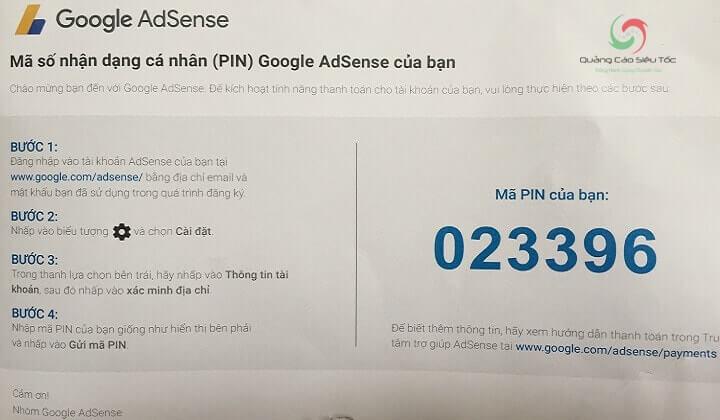 Mã Pin xác nhận được gửi về khi kiếm được 10$ đầu tiên từ Google Adsense