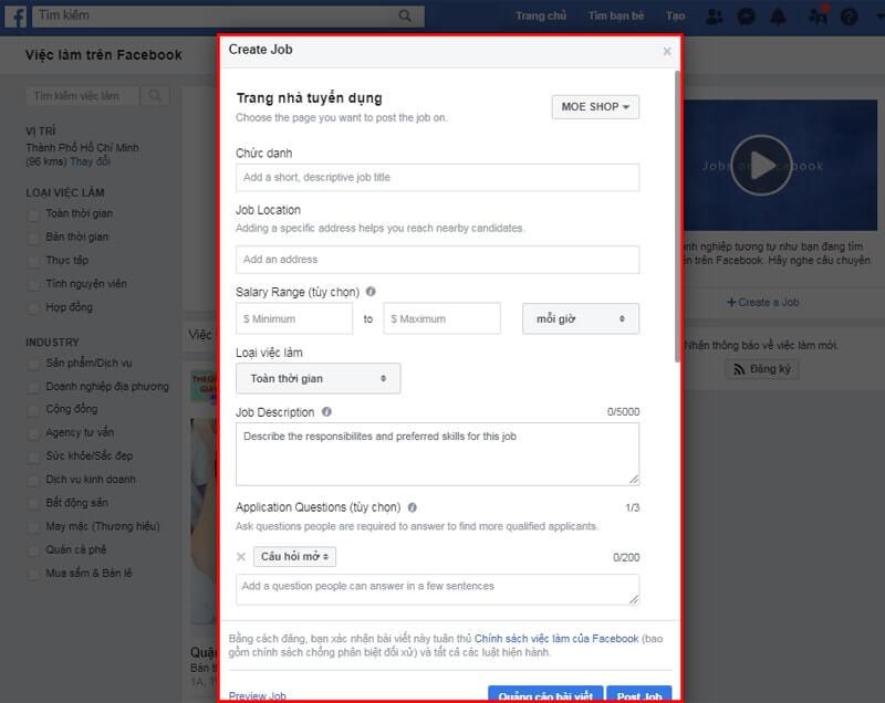Điền thông tin quảng cáo tuyển dụng Facebook