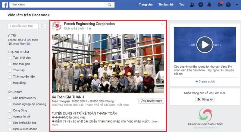 Minh họa tin tuyển dụng trên Facebook Jobs