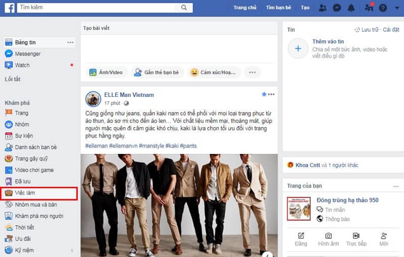 Truy cập mục Việc Làm của Facebook tuyển dụng
