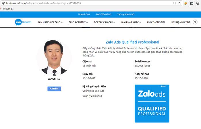 CEO Quảng Cáo Siêu Tốc Nhận Chứng Chỉ Zalo Ads