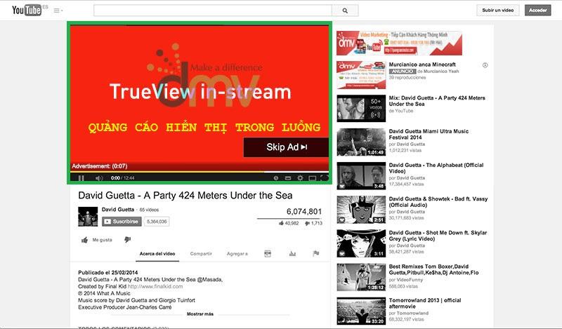 Quảng cáo Trueview trong Hiển Thị