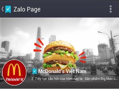McDonald's quảng cáo trên Zalo