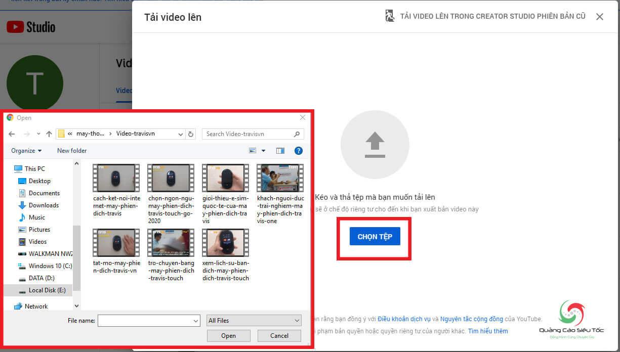 Chọn video muốn tải lên Youtube