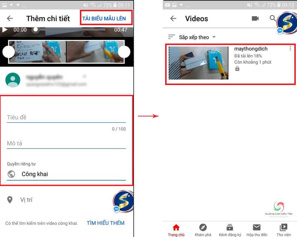 Nhập thông tin video và bấm xác nhận Tải Biểu Mẫu Lên