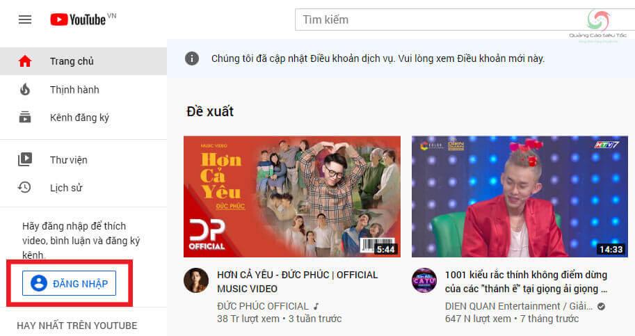 Đăng nhập tài khoản Youtube để tạo danh sách phát trên Youtube