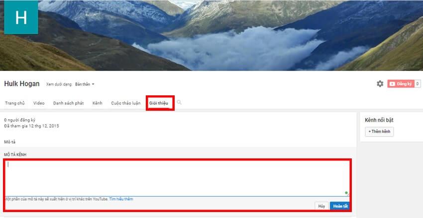 Viết mô tả kênh Youtube vào khoảng trống ở mục Mô Tả Kênh