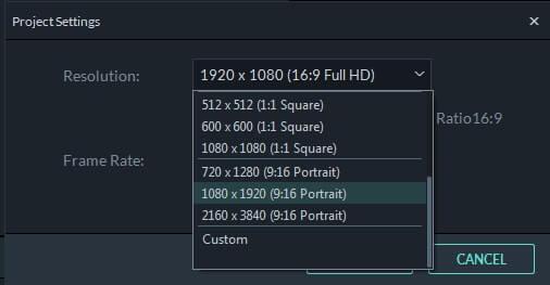 Chọn trực tiếp kích thước bằng cách nhấp vào Project settings
