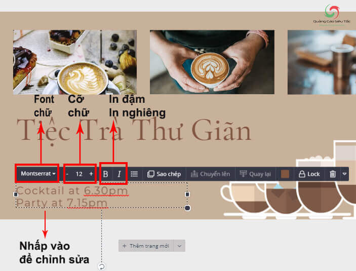 Thay đổi font chữ, điều chỉnh văn bản trên Designbold