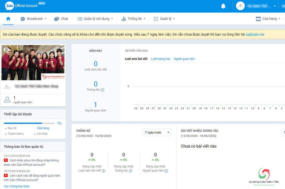 Tạo Zalo Official Account thành công
