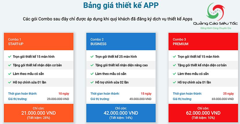 bảng giá thiết kế app