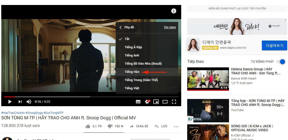 bật phụ đề trên youtube