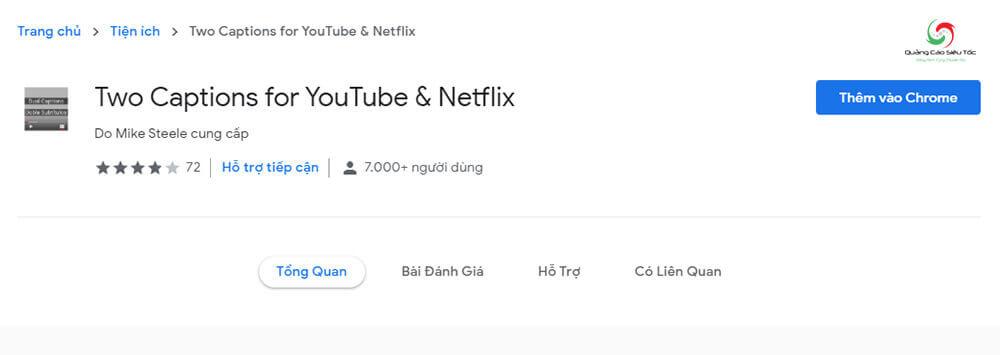 Cài đặt tiện ích bật 2 phụ đề trên Youtube