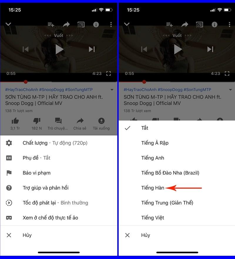 bật sub trên youtube