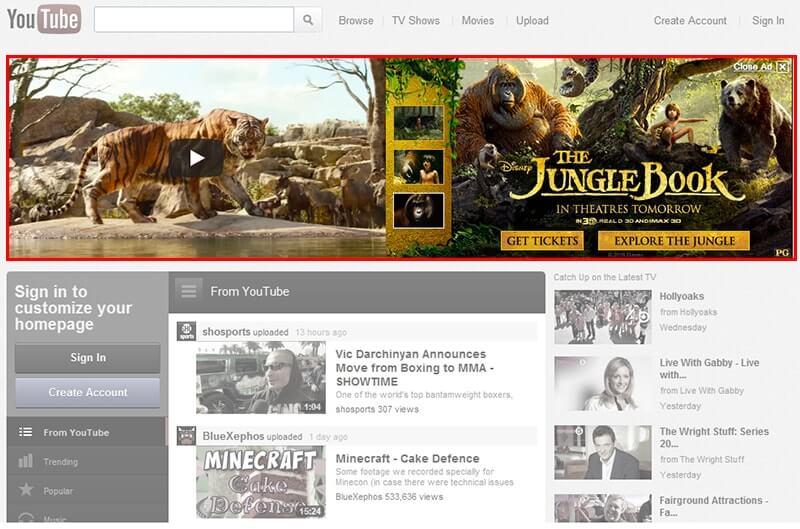 Quảng cáo trang chủ là một trong các loại quảng cáo trên Youtube đắt tiền nhất
