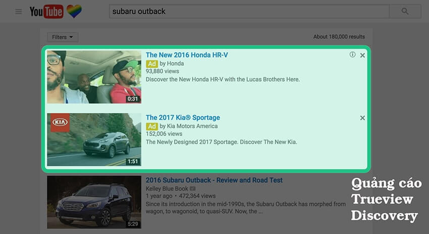 Quảng cáo hiển thị trong đề xuất tìm kiếm của Youtube