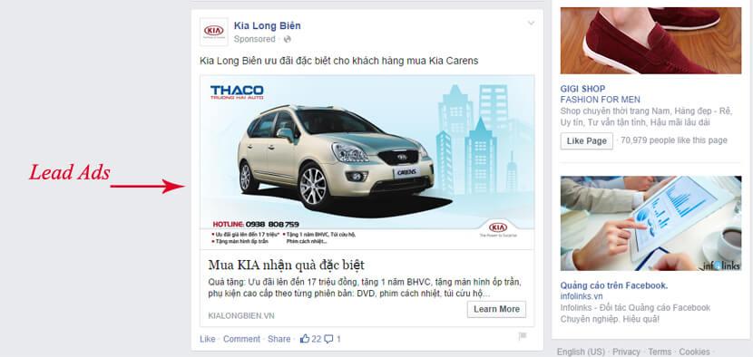 các loại quảng cáo trên facebook