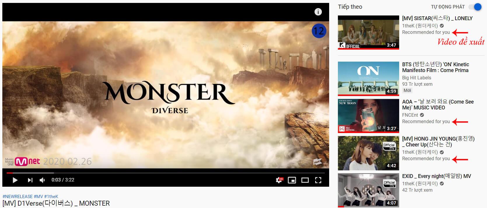 cách đề xuất video trên youtube
