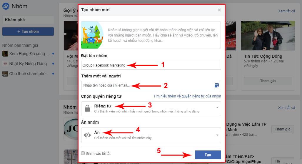 cách lập nhóm trên facebook