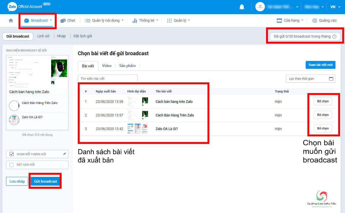 Cách sử dụng tính năng Broadcast trên Zalo page