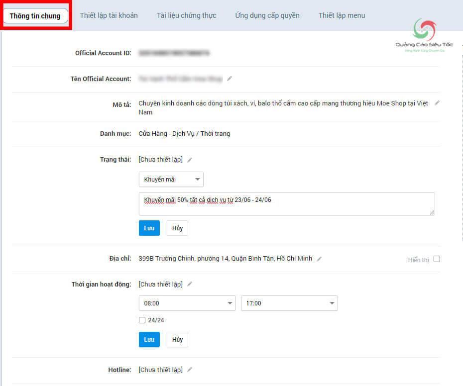 Cách sử dụng tính năng thiết lập thông tin chung cho Official Account