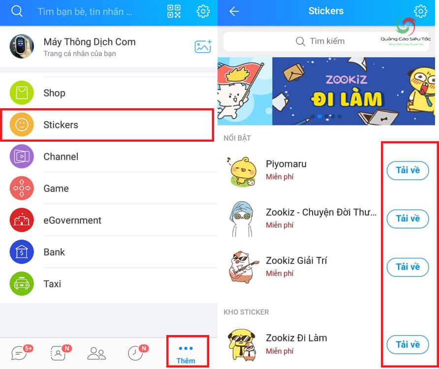 Cách Download sticker mới cho Zalo