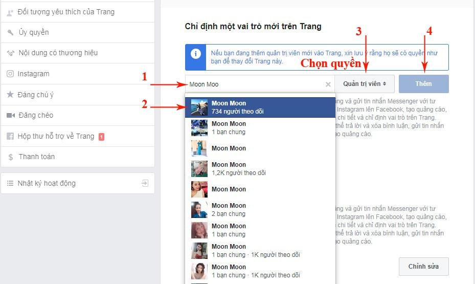 cách thêm admin cho page facebook