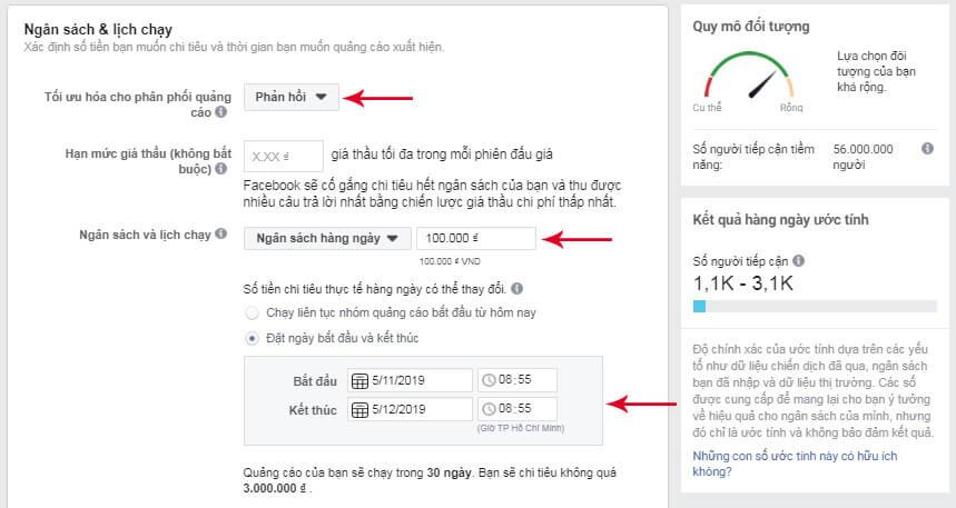 cài đặt ngân sách lịch chạy quảng cáo facebook