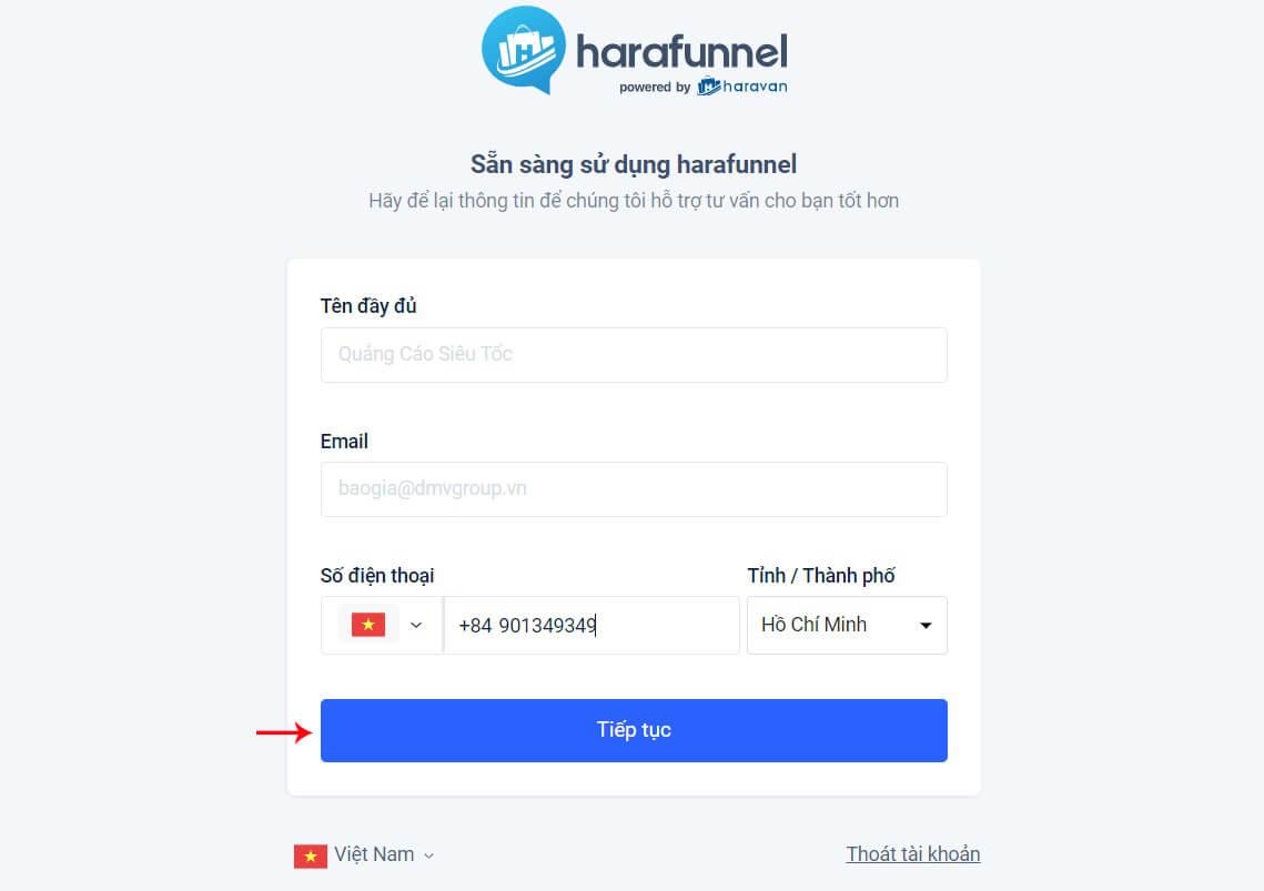 cài thông tin harafunnel chatbot