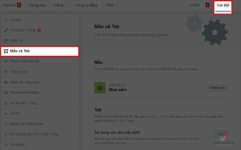 Chức năng cài đặt Mẫu và Tab trên trang Fanpage